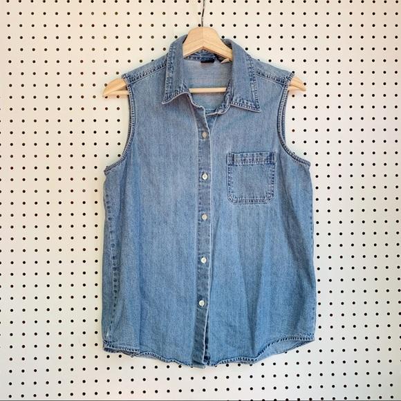 GAP Tops - Vintage Gap Denim Sleeveless Shirt